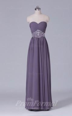A-line Gray Chiffon Floor-length Prom Dress(PRBD04-S494)