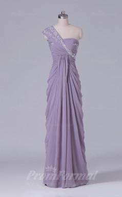 Sheath/Column Nude Chiffon Floor-length Prom Dress(PRBD04-S496)
