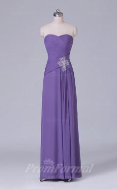 A-line Violet Chiffon Floor-length Prom Dress(PRBD04-S510)