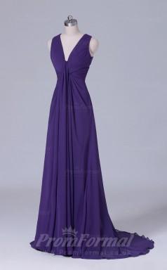 A-line Dark Purple Chiffon Floor-length Prom Dress(PRBD04-S512)