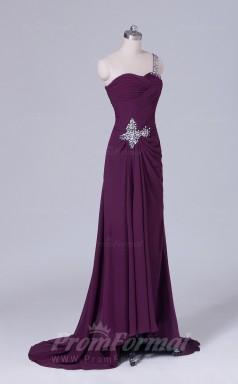 A-line Grape Chiffon Floor-length Prom Dress(PRBD04-S515)