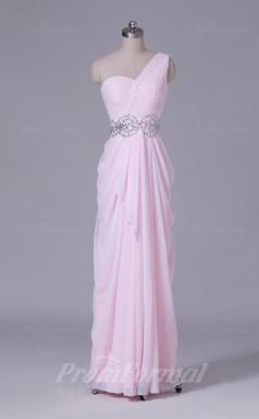 A-line Blushing Pink Chiffon Floor-length Prom Dress(PRBD04-S517)