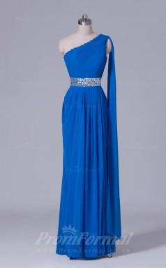 A-line Blue Chiffon Floor-length Prom Dress(PRBD04-S518)