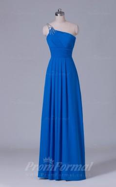A-line Blue Chiffon Floor-length Prom Dress(PRBD04-S541)