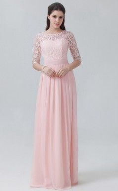 BDUK10008 Candy Pink 18 Lace Chiffon A Line Scoop Long Bridesmaid Dresses With High/Covered Back