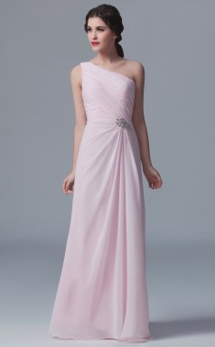BDUK10011 Blushing Pink 37 Chiffon Sheath One Shoulder Long Bridesmaid Dresses With Mid Back
