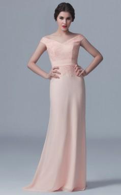 BDUK10012 Pearl Pink 114 Lace Chiffon Mermaid/Trumpet Off the Shoulder Short/Cap Sleeve Long Bridesmaid Dresses