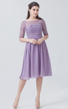 BDUK10016 Lilac 24 Lace Chiffon A Line Boat/Bateau Half Sleeve Knee Length Bridesmaid Dresses