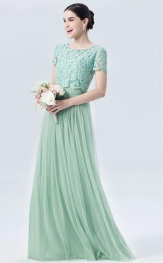 BDUK10020 Aquanmarine 48 Lace Tulle A Line Jewel Short/Cap Sleeve Long Bridesmaid Dresses With Buttons