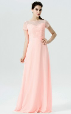 BDUK10028 Pink 12 Lace Chiffon A Line Boat/Bateau Short/Cap Sleeve Long Bridesmaid Dresses With High/Covered Back
