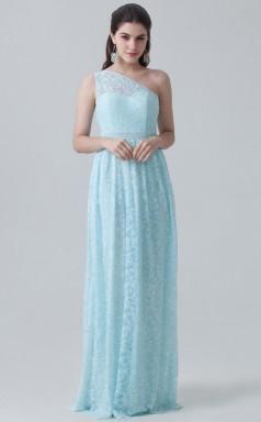 BDUK10035 Light Blue 22 Lace A Line One Shoulder Long Bridesmaid Dresses