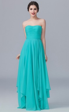 BDUK10042 Dark Turquoise 139 Chiffon A Line Strapless Long Bridesmaid Dresses With Mid Back