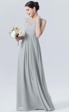 BDUK10049 Silver 73 Chiffon A Line Boat/Bateau Short/Cap Sleeve Long Bridesmaid Dresses With Mid Back