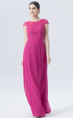 BDUK10058 Fuchsia 108 Lace Chiffon A Line Jewel Short/Cap Sleeve Long Bridesmaid Dresses With High/Covered Back