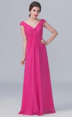 BDUK10064 Margenta 145 Chiffon A Line V Neck Short/Cap Sleeve Long Bridesmaid Dresses