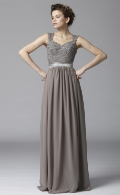 BDUK10066 Gainsboro 110 Lace Chiffon A Line V Neck Long Bridesmaid Dresses With High/Covered Back