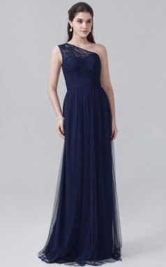 BDUK10067 Navy Blue 102 Lace Tulle A Line One Shoulder Long Bridesmaid Dresses With Mid Back