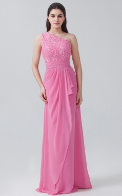 BDUK10069 Hot Pink 6 Lace Chiffon Mermaid/Trumpet One Shoulder Long Bridesmaid Dresses