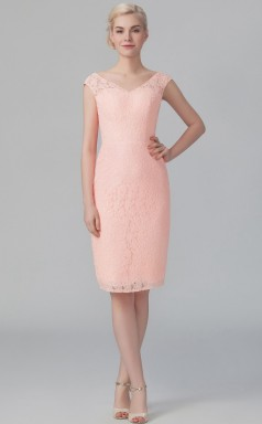 BDUK10070  Pink 12 Lace Sheath V Neck Short/Cap Sleeve Knee Length Bridesmaid Dresses