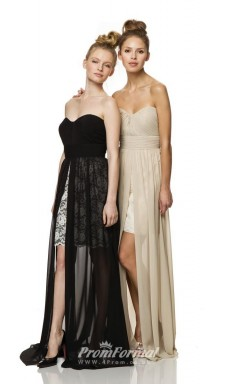 1459UK2003 Sheath Sweetheart Black Lace Chiffon Mid Back Bridesmaid Dresses