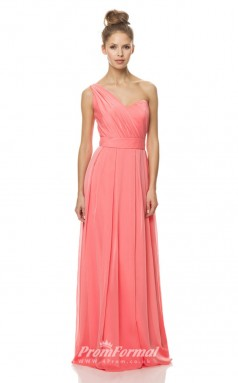 1473UK2009 A Line One Shoulder Watermelon Chiffon Mid Back Bridesmaid Dresses