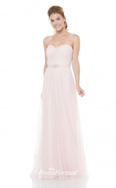 1500UK2012 A Line Sweetheart Blushing Pink Tulle Zipper Bridesmaid Dresses