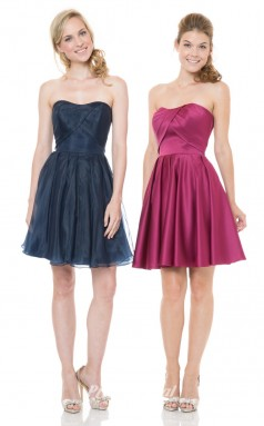 1503UK2015 A Line Strapless Dark Navy Satn Organza Zipper Bridesmaid Dresses