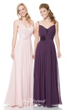 1504UK2016 A Line Straps Blushing Pink Chiffon Zipper Bridesmaid Dresses