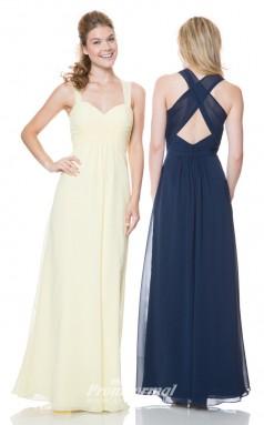 1508UK2019 A Line Straps Navy Blue Chiffon Open Back Bridesmaid Dresses