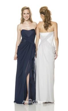 1510UK2020 Sheath/Column Strapless Navy Blue Chiffon Zipper Bridesmaid Dresses