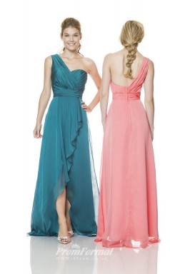 1512UK2022 A Line One Shoulder Ink Blue Velvet Chiffon Mid Back Bridesmaid Dresses