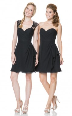 1513UK2023 A Line Sweetheart Black Chiffon Open Back Bridesmaid Dresses