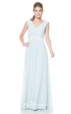1514UK2024 A Line V Neck Sky Blue Chiffon Open Back Bridesmaid Dresses