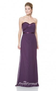 1519UK2027 A Line Sweetheart Grape Chiffon Mid Back Bridesmaid Dresses