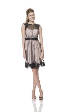 1528UK2031 A Line Jewel Black Tulle Mid Back Bridesmaid Dresses