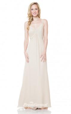 1531UK2033 A Line Straps Beige Chiffon Mid Back Bridesmaid Dresses