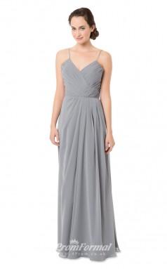 1551UK2035 A Line Straps Silver Chiffon Zipper Bridesmaid Dresses