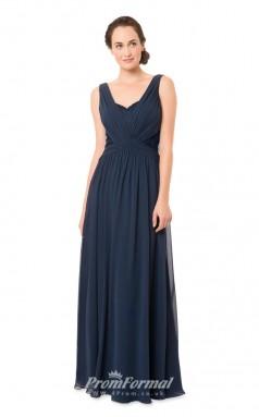 1553UK2036 A Line Straps Dark Navy Chiffon Zipper Bridesmaid Dresses