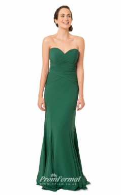 1557UK2037 Mermaid/Trumpet Sweetheart Dark Green Chiffon Zipper Bridesmaid Dresses