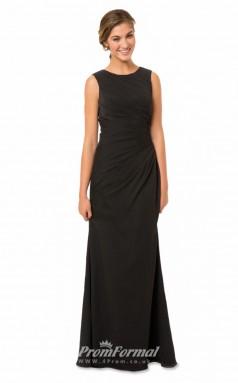 1558UK2038 Mermaid/Trumpet Jewel Black Chiffon Open Back Bridesmaid Dresses