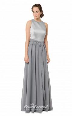 1561UK2041 A Line Jewel Silver Chiffon Open Back Bridesmaid Dresses