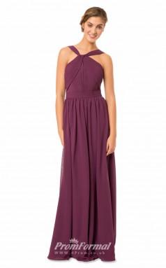 1566UK2043 A Line Halter Grape Chiffon Mid Back Bridesmaid Dresses