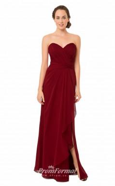 1567UK2044 Sheath/Column Sweetheart Burgundy Chiffon Zipper Bridesmaid Dresses