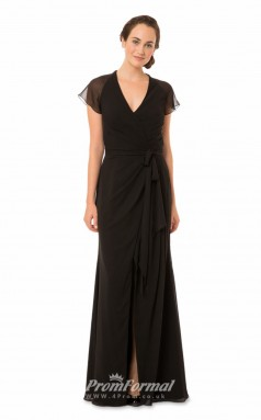 1568UK2045 Sheath/Column Short/Cap Sleeve V Neck Black Chiffon High/Covered Bridesmaid Dresses