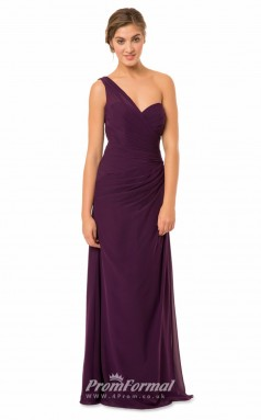 1571UK2046 Sheath/Column One Shoulder Grape Chiffon Mid Back Bridesmaid Dresses