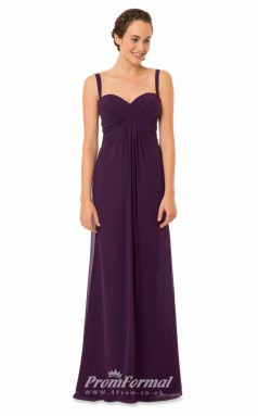 1579UK2053 A Line Straps Grape Chiffon Zipper Bridesmaid Dresses