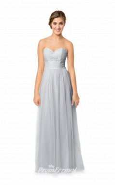 1581UK2055 A Line Sweetheart Silver Tulle Lace Mid Back Bridesmaid Dresses