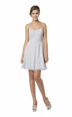 1584UK2058 A Line Straps Tulle Zipper Bridesmaid Dresses