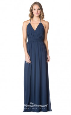 1600UK2059 A Line V Neck Navy Blue Chiffon Open Back Bridesmaid Dresses