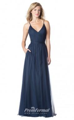 1604UK2063 A Line V Neck Navy Blue Tulle Mid Back Bridesmaid Dresses